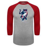 Grey/Red Raglan Baseball T Shirt-Cougar