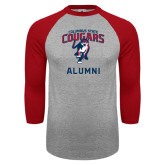 Grey/Red Raglan Baseball T Shirt-Alumni