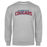 Grey Fleece Crew-Arched Columbus State Cougars