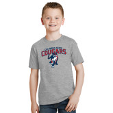 Youth Grey T-Shirt-Columbus State Cougars w/ Cougar Arched