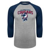 Grey/Navy Raglan Baseball T Shirt-Columbus State Cougars w/ Cougar Arched