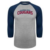 Grey/Navy Raglan Baseball T Shirt-Arched Columbus State Cougars