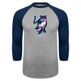 Grey/Navy Raglan Baseball T Shirt-Cougar
