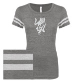 ENZA Ladies Dark Heather/White Vintage Triblend Football Tee-Cougar Glitter