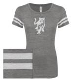 ENZA Ladies Dark Heather/White Vintage Triblend Football Tee-Cougar Glitter