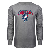 Grey Long Sleeve T Shirt-Columbus State Cougars w/ Cougar Arched