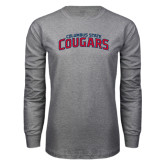 Grey Long Sleeve T Shirt-Arched Columbus State Cougars