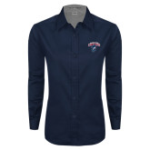 Ladies Navy Twill Button Down Long Sleeve-Columbus State Cougars w/ Cougar Arched