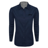 Ladies Navy Twill Button Down Long Sleeve-Arched Columbus State Cougars