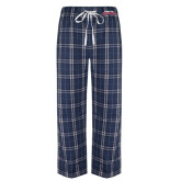 Navy/White Flannel Pajama Pant-Arched Columbus State Cougars