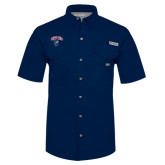 Columbia Bonehead Navy Short Sleeve Shirt-Columbus State Cougars w/ Cougar Arched