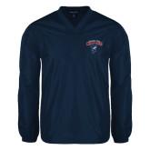 V Neck Navy Raglan Windshirt-Columbus State Cougars w/ Cougar Arched