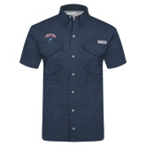 Columbia Tamiami Performance Navy Short Sleeve Shirt-Columbus State Cougars w/ Cougar Arched