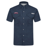 Columbia Tamiami Performance Navy Short Sleeve Shirt-Arched Columbus State Cougars