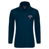 Ladies Fleece Full Zip Navy Jacket-Columbus State Cougars w/ Cougar Arched