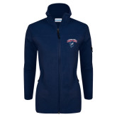 Columbia Ladies Full Zip Navy Fleece Jacket-Columbus State Cougars w/ Cougar Arched