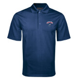 Navy Mini Stripe Polo-Columbus State Cougars w/ Cougar Arched