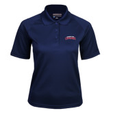 Ladies Navy Textured Saddle Shoulder Polo-Arched Columbus State Cougars