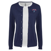 Ladies Navy Cardigan-Columbus State Cougars w/ Cougar Arched
