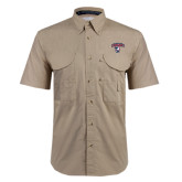 Khaki Short Sleeve Performance Fishing Shirt-Columbus State Cougars w/ Cougar Arched
