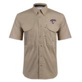 Khaki Short Sleeve Performance Fishing Shirt-Columbus State Cougars w/ Cougar Arched