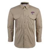 Khaki Long Sleeve Performance Fishing Shirt-Columbus State Cougars w/ Cougar Arched