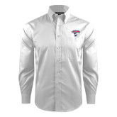 Red House White Dobby Long Sleeve Shirt-Columbus State Cougars w/ Cougar Arched