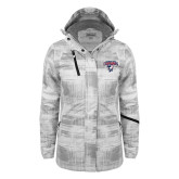 Ladies White Brushstroke Print Insulated Jacket-Columbus State Cougars w/ Cougar Arched