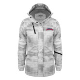 Ladies White Brushstroke Print Insulated Jacket-Arched Columbus State Cougars