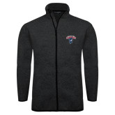 Black Heather Fleece Jacket-Columbus State Cougars w/ Cougar Arched
