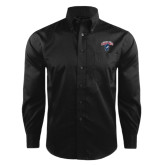 Red House Black Herringbone Long Sleeve Shirt-Columbus State Cougars w/ Cougar Arched