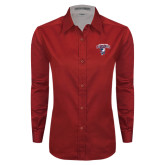 Ladies Red Twill Button Down Long Sleeve-Columbus State Cougars w/ Cougar Arched