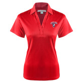 Ladies Red Performance Fine Jacquard Polo-Columbus State Cougars w/ Cougar Arched