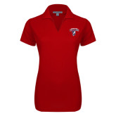 Ladies Red Dry Zone Grid Polo-Columbus State Cougars w/ Cougar Arched