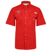 Columbia Bonehead Red Short Sleeve Shirt-Columbus State Cougars w/ Cougar Arched