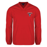 V Neck Red Raglan Windshirt-Columbus State Cougars w/ Cougar Arched