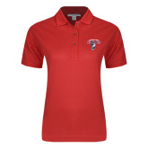 Ladies Easycare Red Pique Polo-Columbus State Cougars w/ Cougar Arched