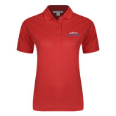 Ladies Easycare Red Pique Polo-Arched Columbus State Cougars