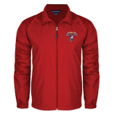 Full Zip Red Wind Jacket-Columbus State Cougars w/ Cougar Arched
