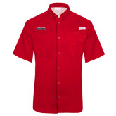 Columbia Tamiami Performance Red Short Sleeve Shirt-Arched Columbus State Cougars
