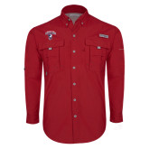 Columbia Bahama II Red Long Sleeve Shirt-Columbus State Cougars w/ Cougar Arched