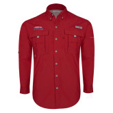 Columbia Bahama II Red Long Sleeve Shirt-Arched Columbus State Cougars