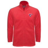 Fleece Full Zip Red Jacket-Columbus State Cougars w/ Cougar Arched