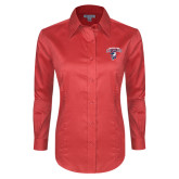 Ladies Red House Red Long Sleeve Shirt-Columbus State Cougars w/ Cougar Arched