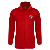 Ladies Fleece Full Zip Red Jacket-Columbus State Cougars w/ Cougar Arched