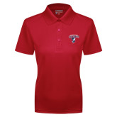 Ladies Red Dry Mesh Polo-Columbus State Cougars w/ Cougar Arched