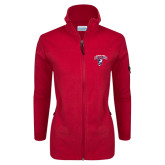 Columbia Ladies Full Zip Red Fleece Jacket-Columbus State Cougars w/ Cougar Arched
