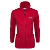 Columbia Ladies Full Zip Red Fleece Jacket-Arched Columbus State Cougars
