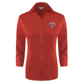 Ladies Red House Red 3/4 Sleeve Shirt-Columbus State Cougars w/ Cougar Arched