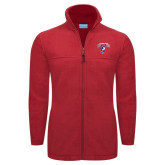 Columbia Full Zip Red Fleece Jacket-Columbus State Cougars w/ Cougar Arched